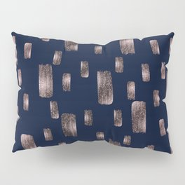 Modern Brush Rose Gold Pink & Navy Blue Pillow Sham
