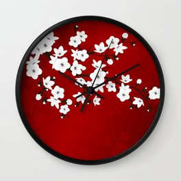 Red Black And White Cherry Blossoms Wall Clock