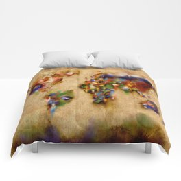 world map watercolor flags 3 Comforters
