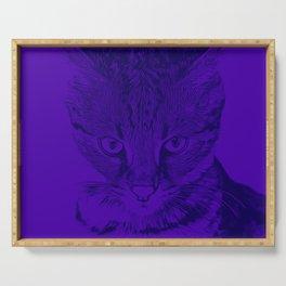 savannah cat portrait vabp Serving Tray