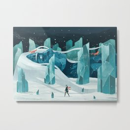 The wanderer and the ice forest Metal Print