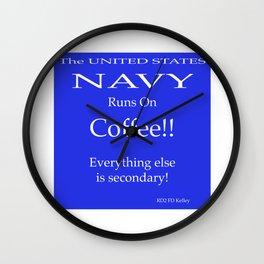 Navy Runs On Coffee Wall Clock