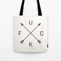 arrows Tote Bags featuring Arrows by Text Guy