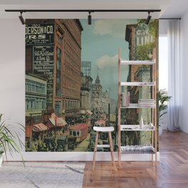 Montreal busy St. Catherine Street 1920s Wall Mural