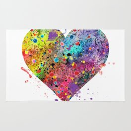 Heart Watercolor Art Print Love Home Decor Valentine's Day Wedding or Engagement Gift Rug