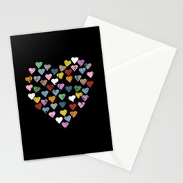 Distressed Hearts Heart Black Stationery Cards