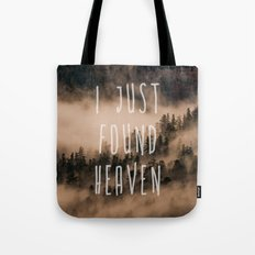 Mountain Fog Travel Trees wanderlust forest- GO TO THE WOODS - LOVE Tote Bag
