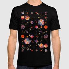 watercolor bubbles MEDIUM Black Mens Fitted Tee