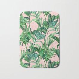 Green Plants Pastel Pattern Bath Mat