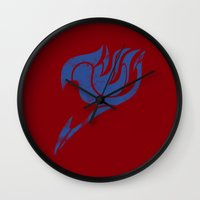 fairy tail Wall Clocks featuring Fairy Tail Segmented Logo Erza by JoshBeck