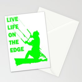 Live Life On The Edge Neon Lime Kitebeach Stationery Cards