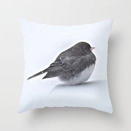 Brave Bird in a Blizzard Throw Pillow