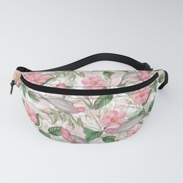 Vintage & Shabby Chic - Pink Flower Dance And Birds Fanny Pack