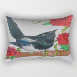 Magpie and Tattoo Roses Rectangular Pillow