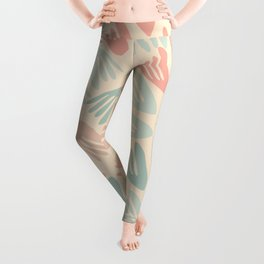 Papier Découpé Modern Abstract Cutout Pattern in Soft Sage Mint Green and Pale Coral on Cream Leggings