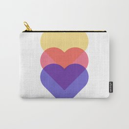 colorful hearts - blue red and yellow Carry-All Pouch