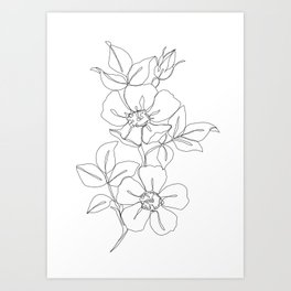 Floral one line drawing - Rose Art Print