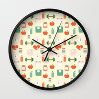 fitness Wall Clocks featuring Fitness pattern by Xinnie and RAE
