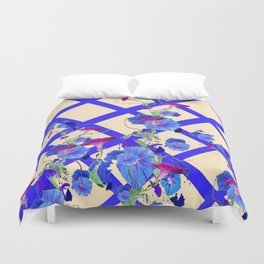 BLUE MORNING GLORIES & BLUE-CREAM LATTICE  DESIGN Duvet Cover