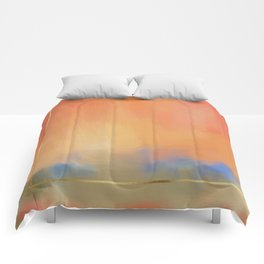 Abstract Landscape With Golden Lines Painting Comforters