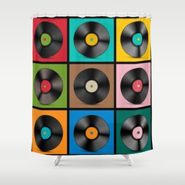 Retro Record Vinyls Shower Curtain