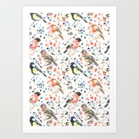 british Art Prints featuring British Birds by Lauren Thomas Designs
