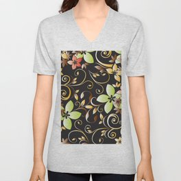 Flowers wall paper 4 Unisex V-Neck