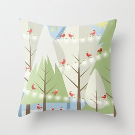 Holiday Winter Scene with Red Bird Santas and Glowing Lights in a Christmas Tree Forest Throw Pillow