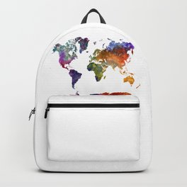 World map in watercolor 26 Backpack