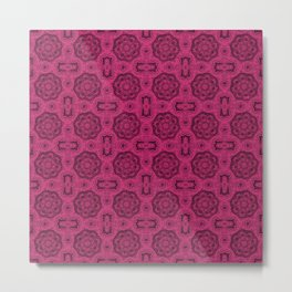 Pink Yarrow Doily Floral Metal Print