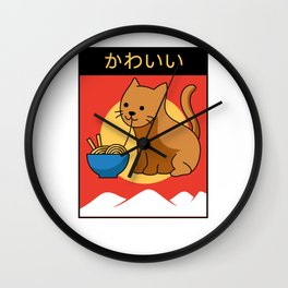 Kawaii Cat Ramen Anime Lover Kitten Lolita Wall Clock