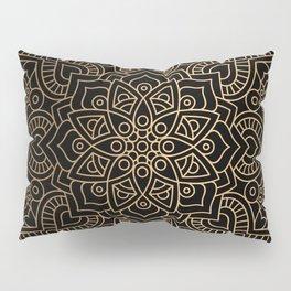 Black Gold Mandala Pillow Sham