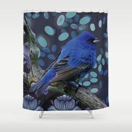 Blue sparrow Shower Curtain