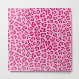 Leopard - Lilac and Pink Metal Print