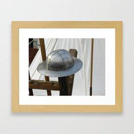 Medieval Riveted Iron Helmet Framed Art Print