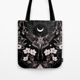 Bohemian Luna Moth On Black Tote Bag