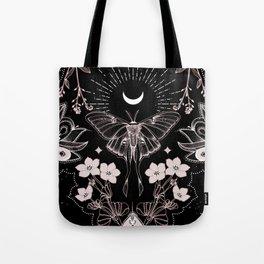 Bohemian Luna Moth On Black Tote Bag