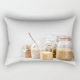 grains, legumes and nuts on concrete background Rectangular Pillow