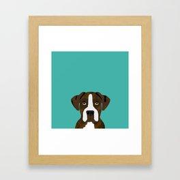 Boxer brindle coat dog breed pet portrait dog head peeking cute dog gifts for boxers Framed Art Print