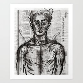 Wanderlust - Charcoal on Newspaper Figure Drawing Art Print
