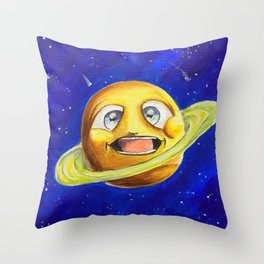 Spinning planet Throw Pillow