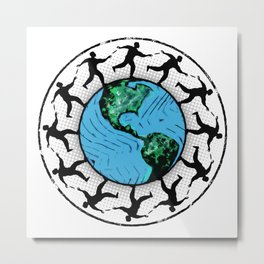 Disc Golfing Planet Earth Metal Print
