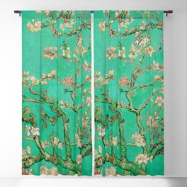 "Vincent van Gogh ""Almond Blossoms"" (edited emerald) Blackout Curtain"