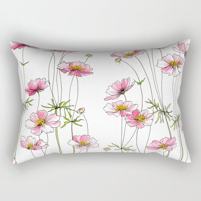 Pink Cosmos Flowers Rectangular Pillow