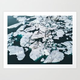 Icelandic glacier icebergs from above - Landscape Photography Art Print