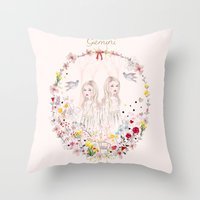 gemini Throw Pillows featuring Gemini by Danse de Lune