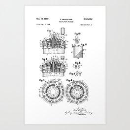Curta Mechanical Calculator Patent Drawing Art Print