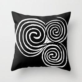 Triskelion, Newgrange - White and Black background Throw Pillow