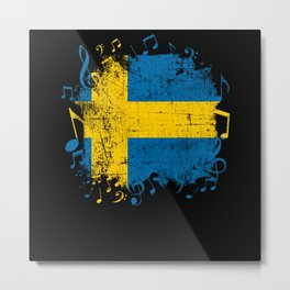 Sweden Music Flag Metal Print