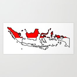 Indonesia Map with Indonesian Flag Art Print